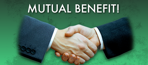 "picture of 2 men taking hands with text ""mutual benefit"""