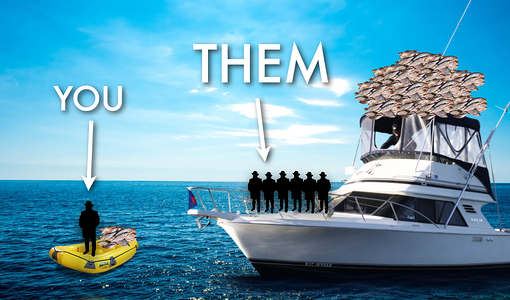 Analogy for music networking. You on a small raft and a network on a yacht boat.