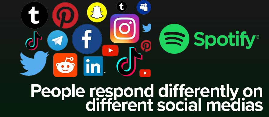 People respond differently on different social medias