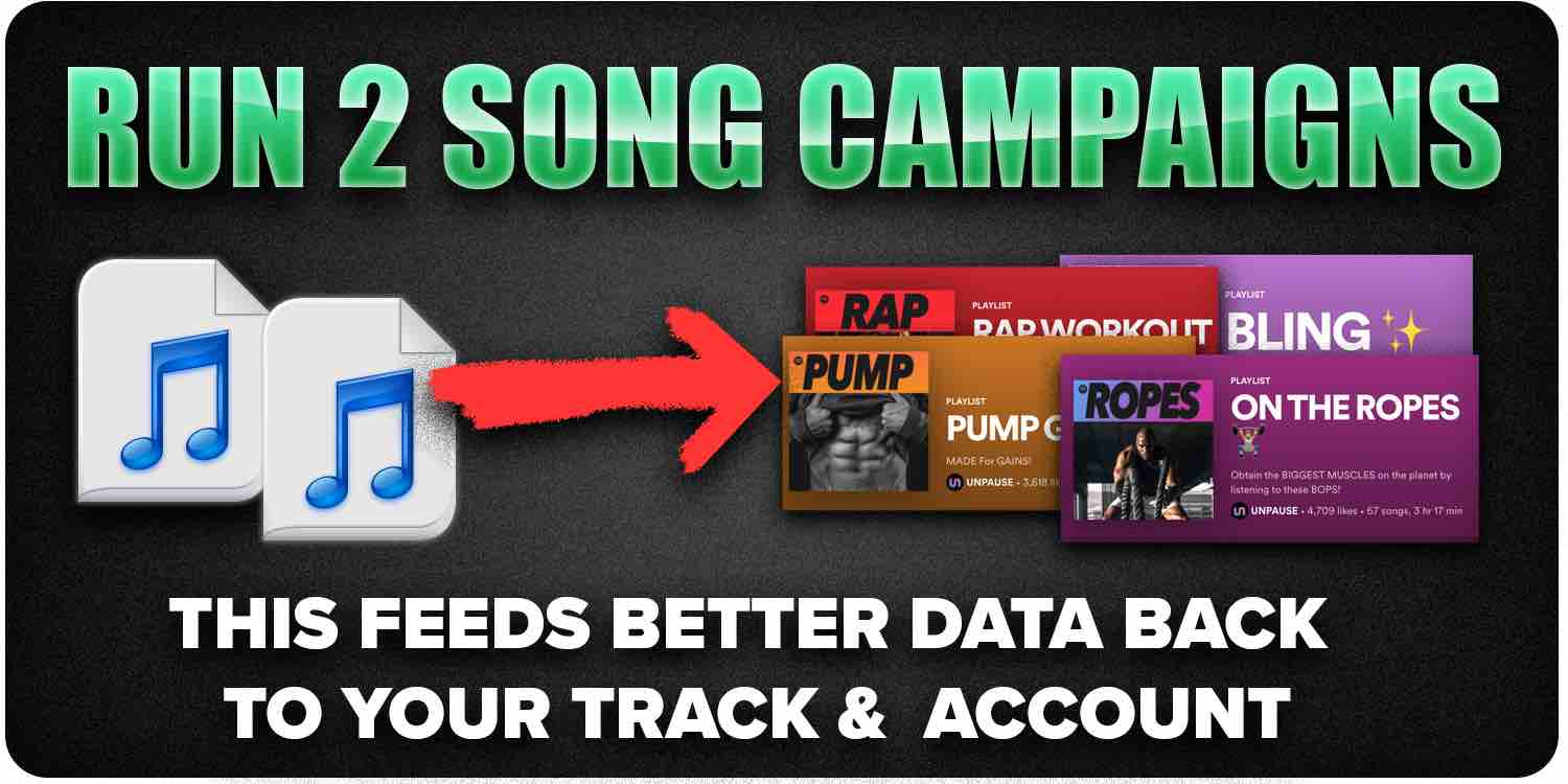 Run 2 song campaigns for Growth stacking