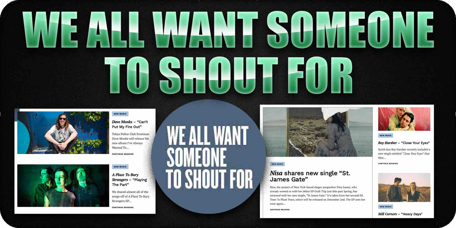 We all want someone to shout for (music blog)
